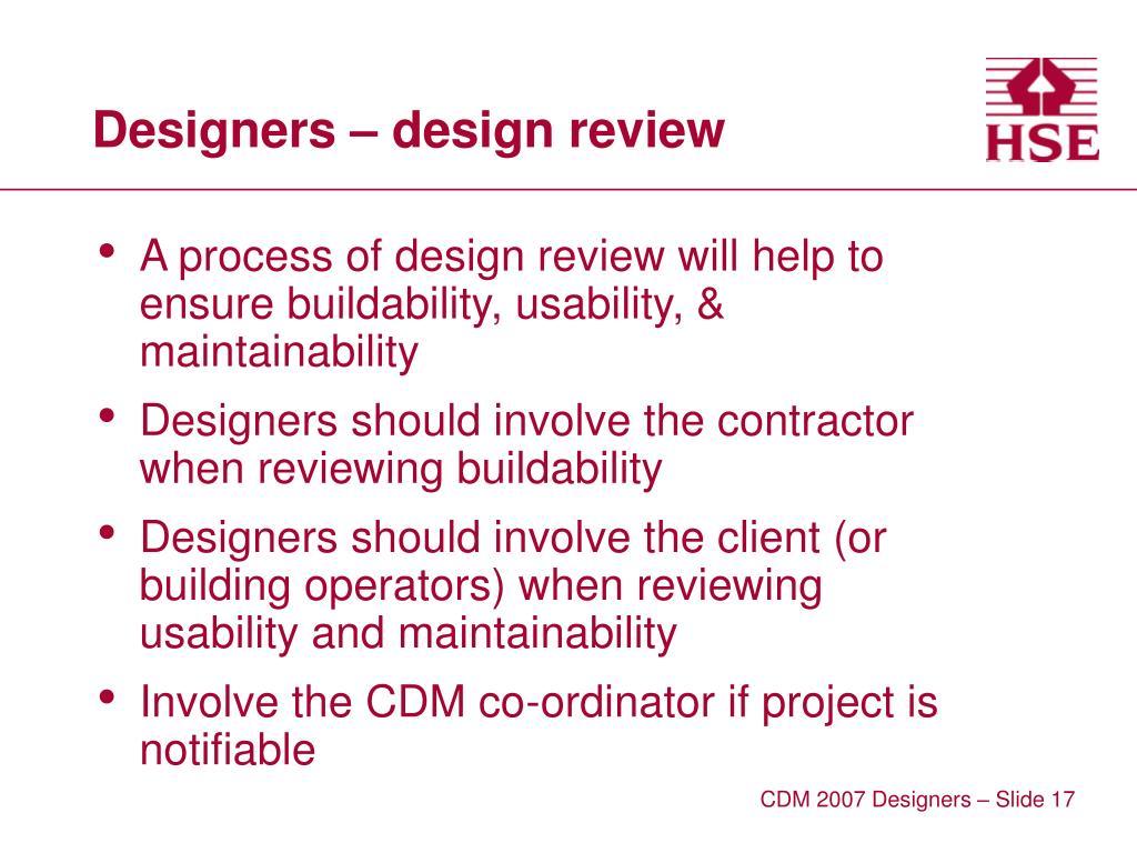 Designers – design review