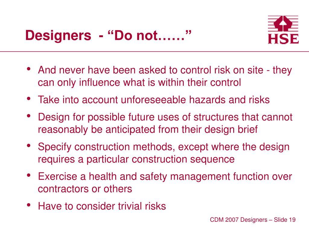 """Designers  - """"Do not……"""""""