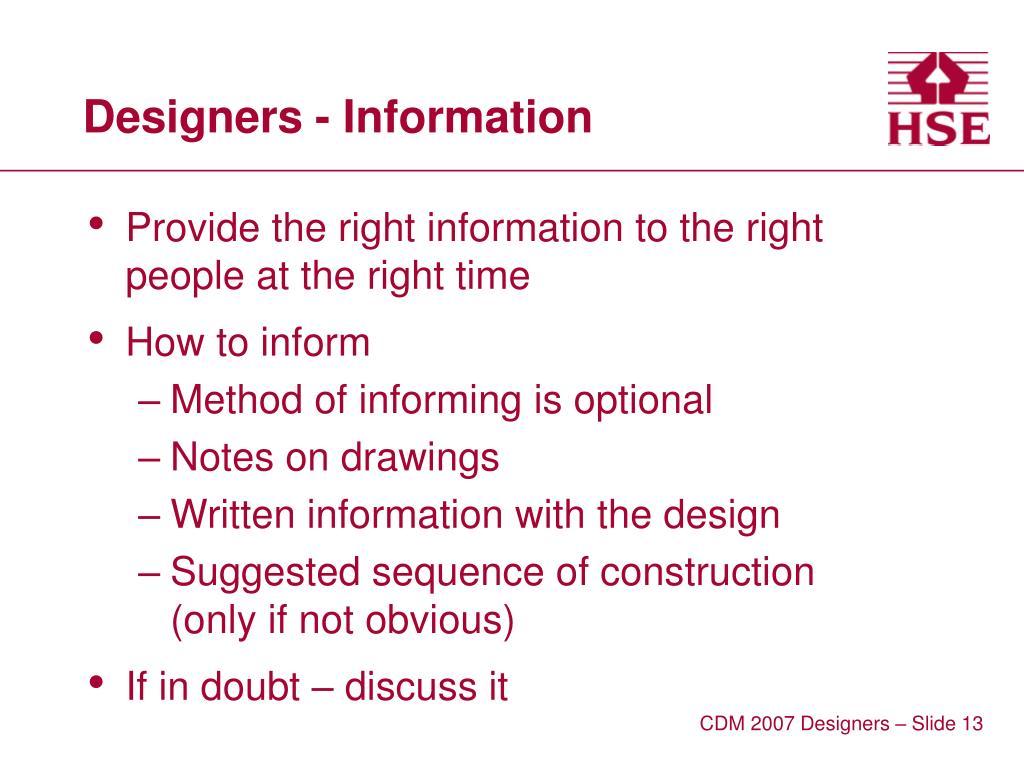 Designers - Information