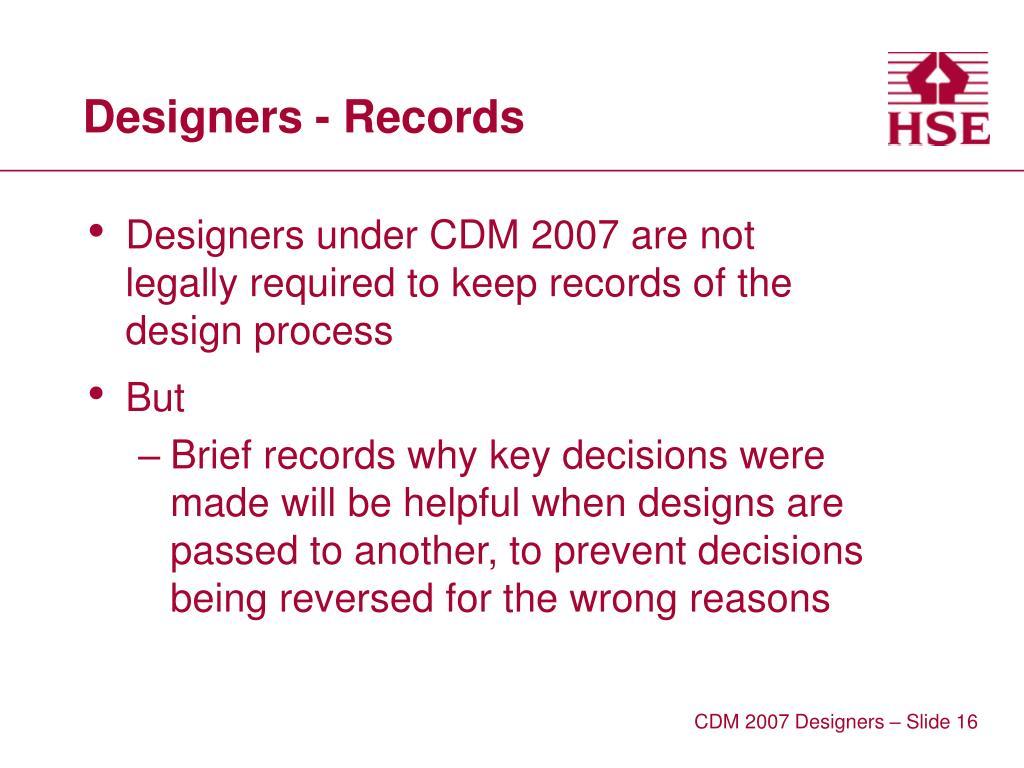 Designers - Records