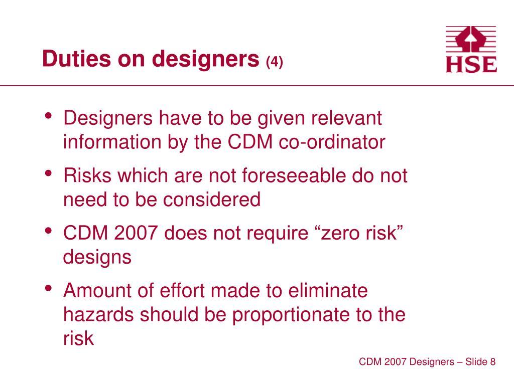 Duties on designers