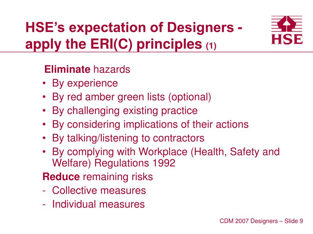 HSE's expectation of Designers -  apply the ERI(C) principles