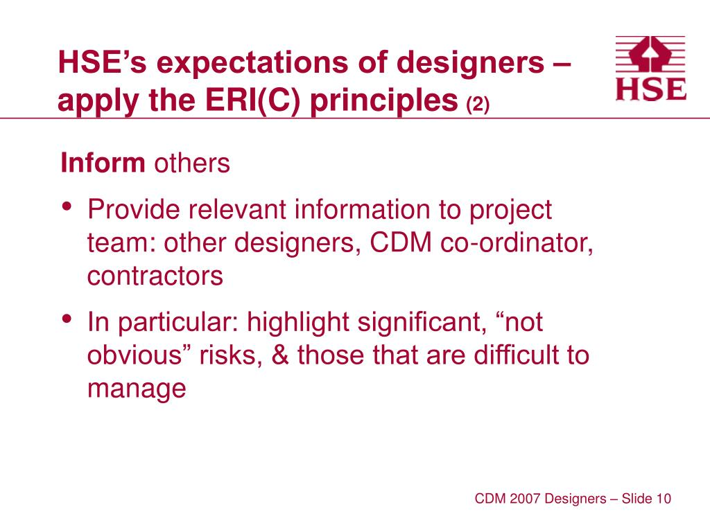 HSE's expectations of designers – apply the ERI(C) principles