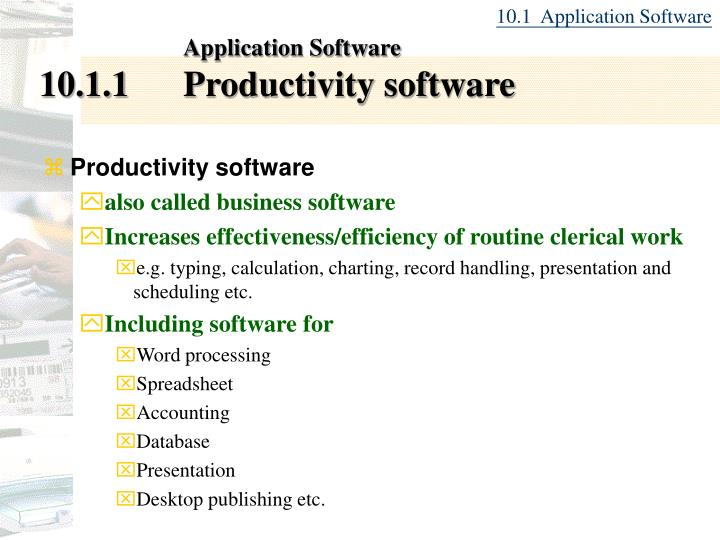 Application software 10 1 1 productivity software