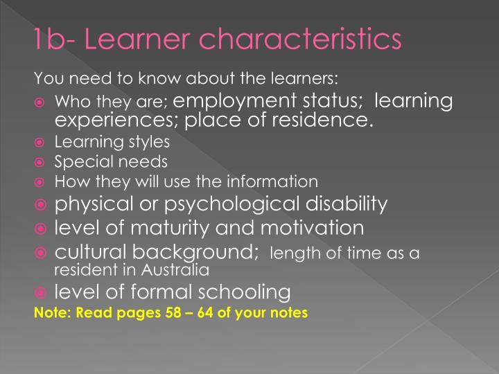 1b- Learner characteristics
