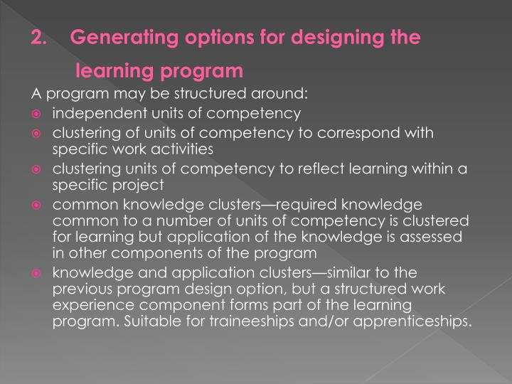 2.    Generating options for designing the