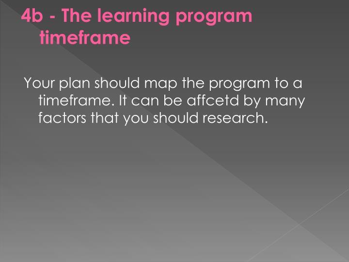 4b - The learning program timeframe