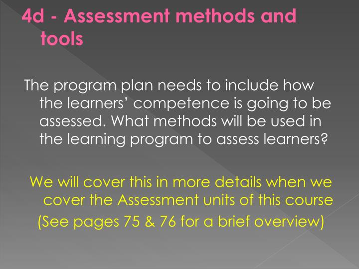 4d - Assessment methods and tools