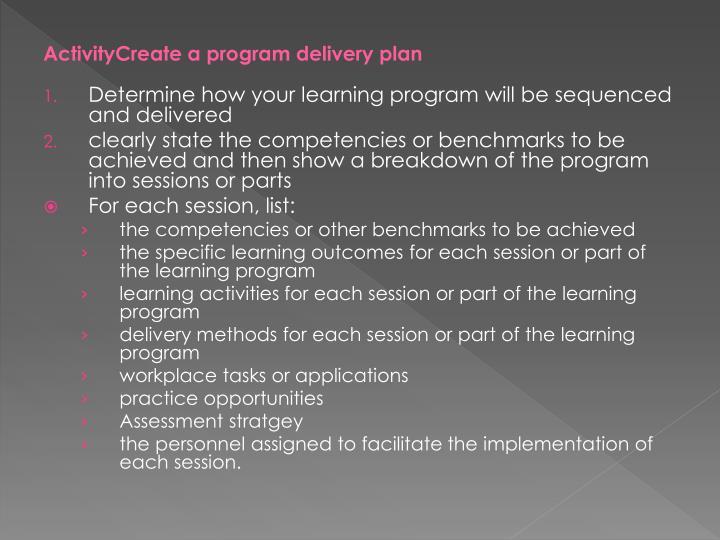 ActivityCreate a program delivery plan