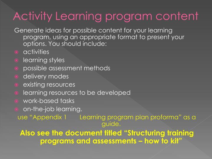 ActivityLearning program content