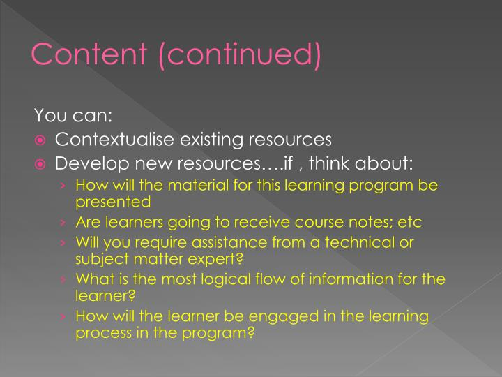 Content (continued)