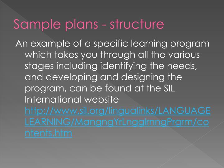 Sample plans - structure