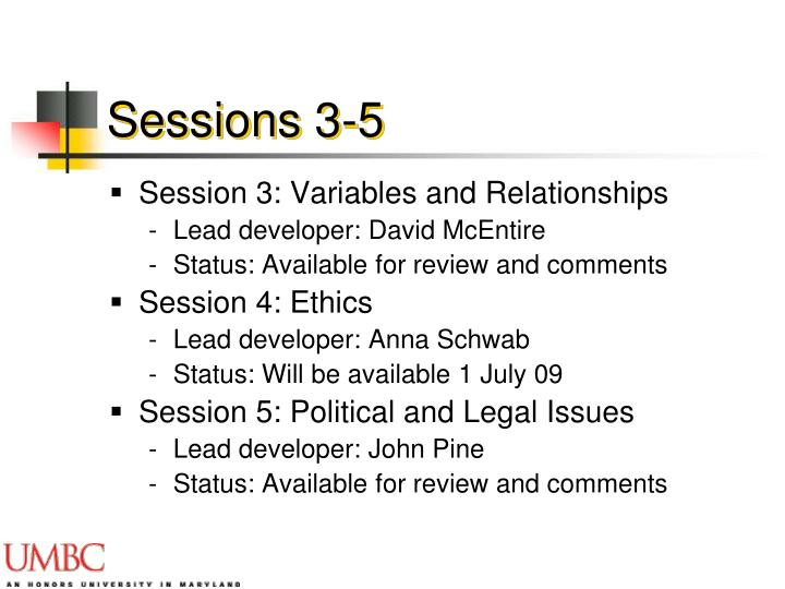 Sessions 3-5