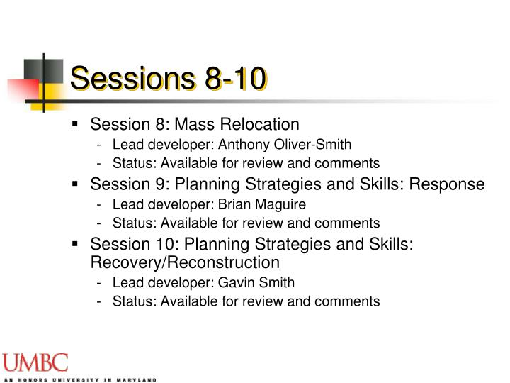 Sessions 8-10