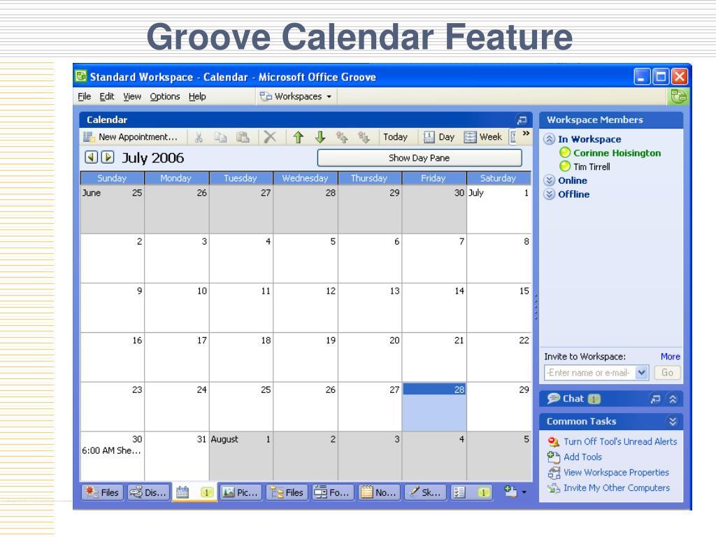 Groove Calendar Feature