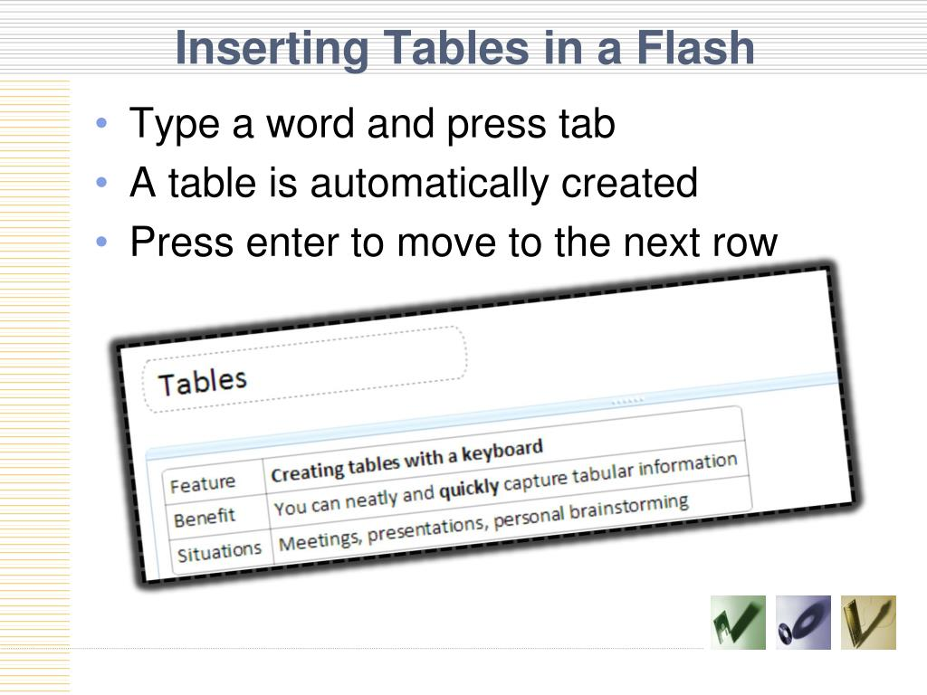 Inserting Tables in a Flash