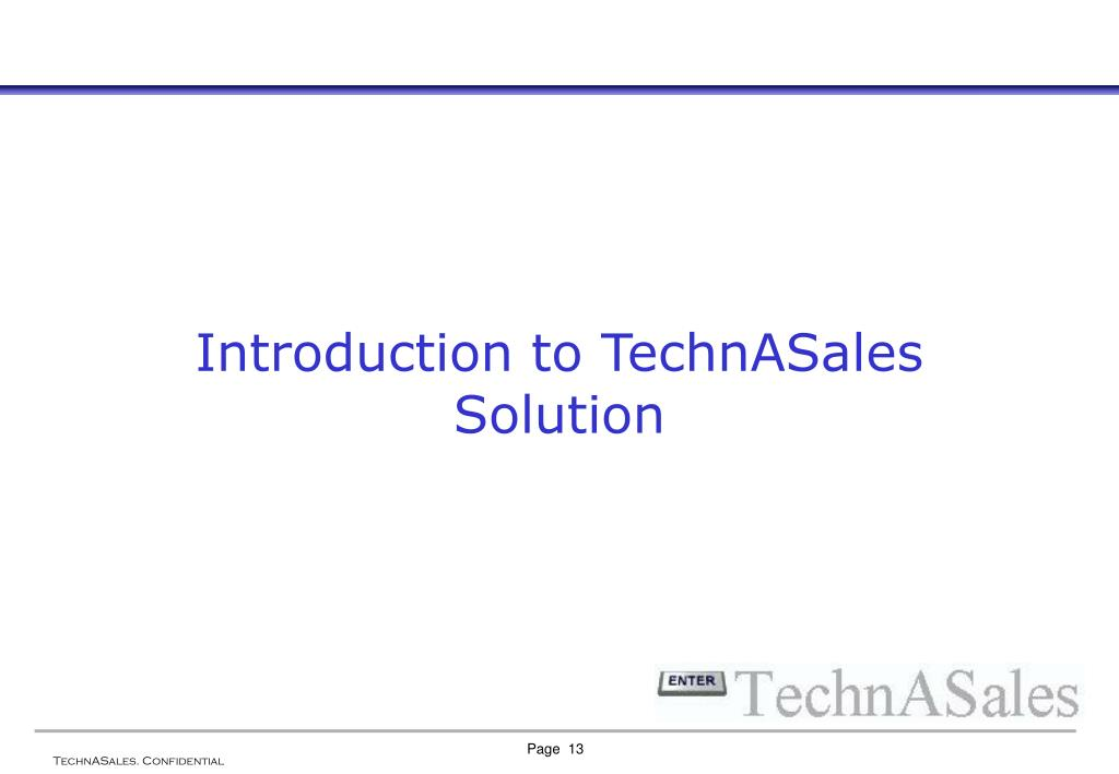 Introduction to TechnASales Solution