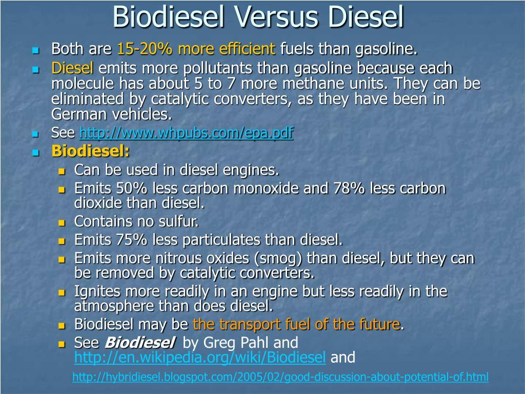 Biodiesel Versus Diesel