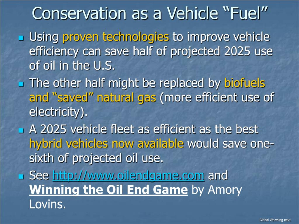 """Conservation as a Vehicle """"Fuel"""""""
