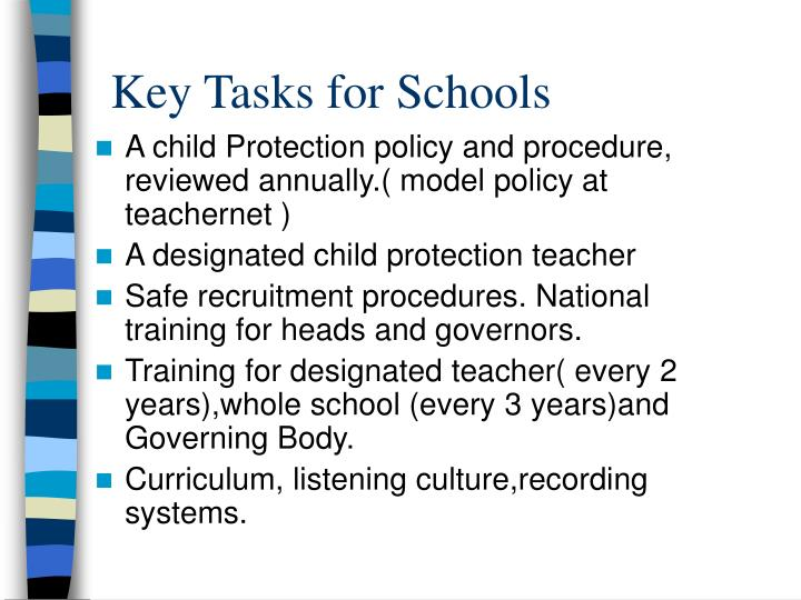Key Tasks for Schools