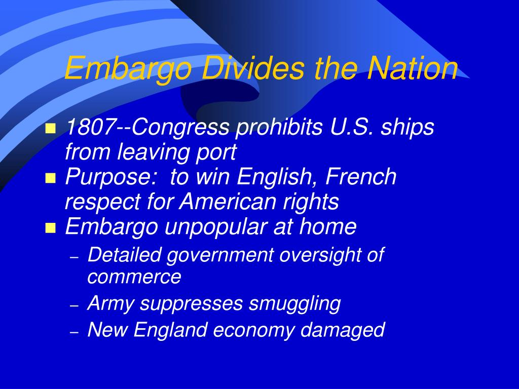 Embargo Divides the Nation