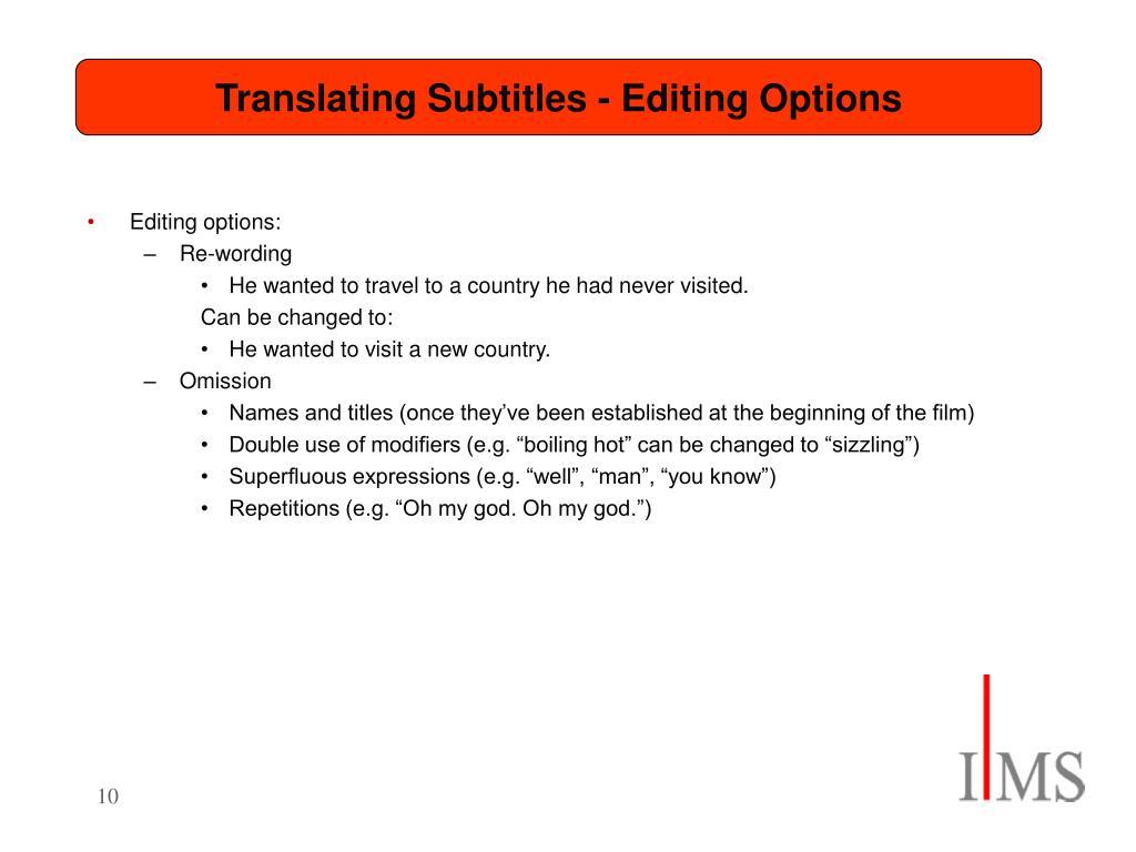 Translating Subtitles - Editing Options