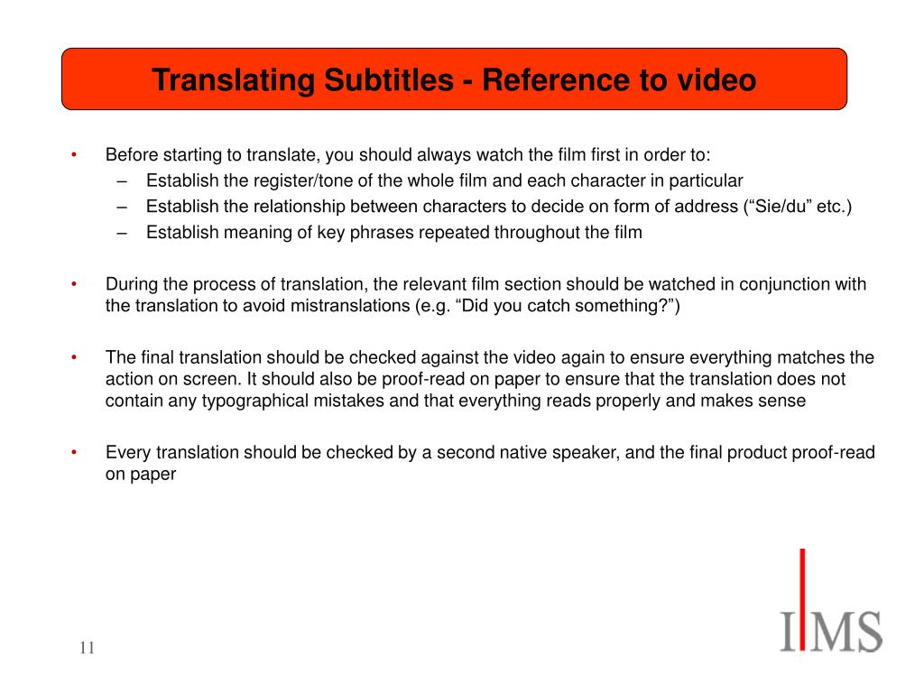 Translating Subtitles - Reference to video