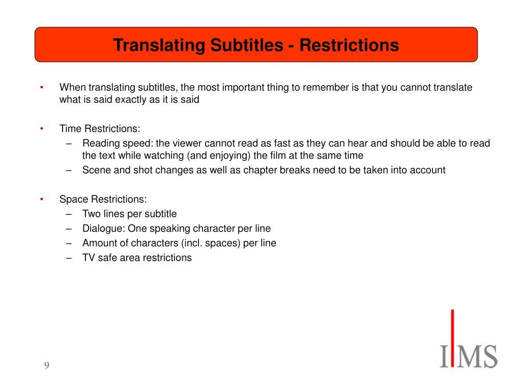 Translating Subtitles - Restrictions