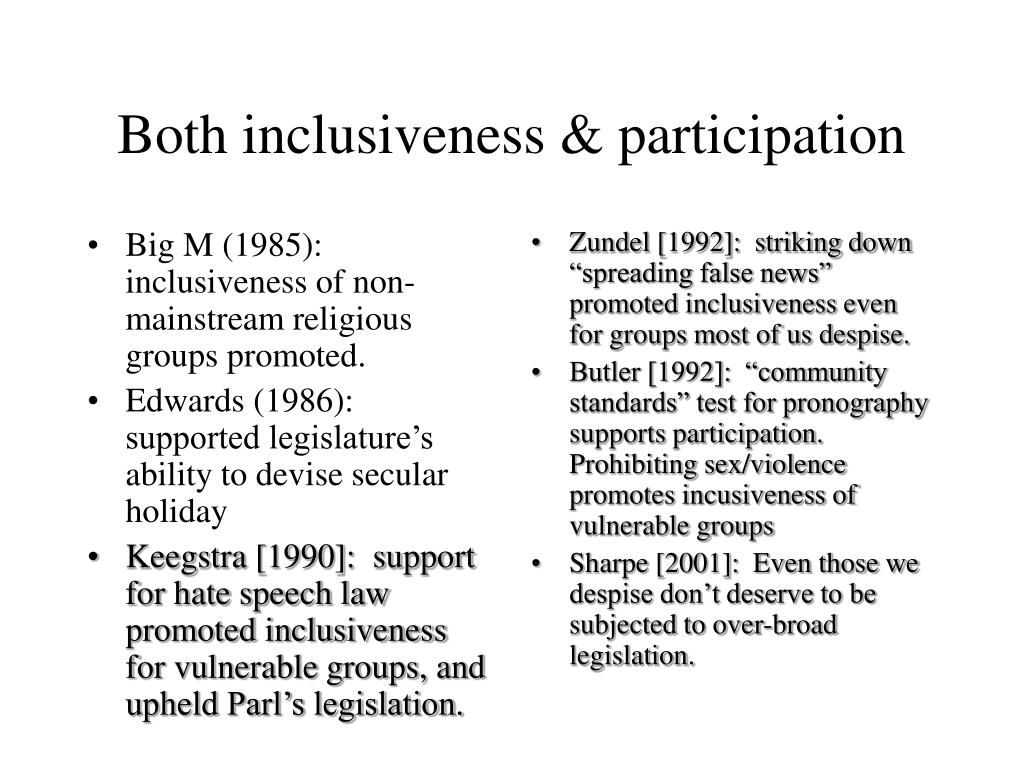 Big M (1985): inclusiveness of non-mainstream religious groups promoted.
