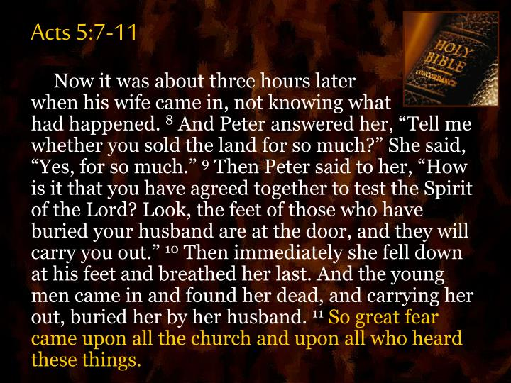 Acts 5:7-11