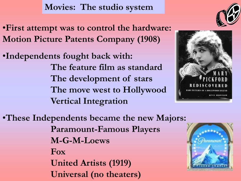 Movies:  The studio system
