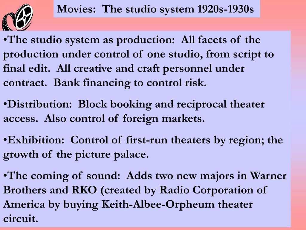Movies:  The studio system 1920s-1930s