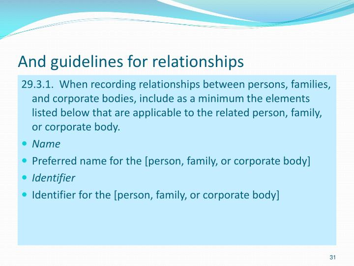 And guidelines for relationships