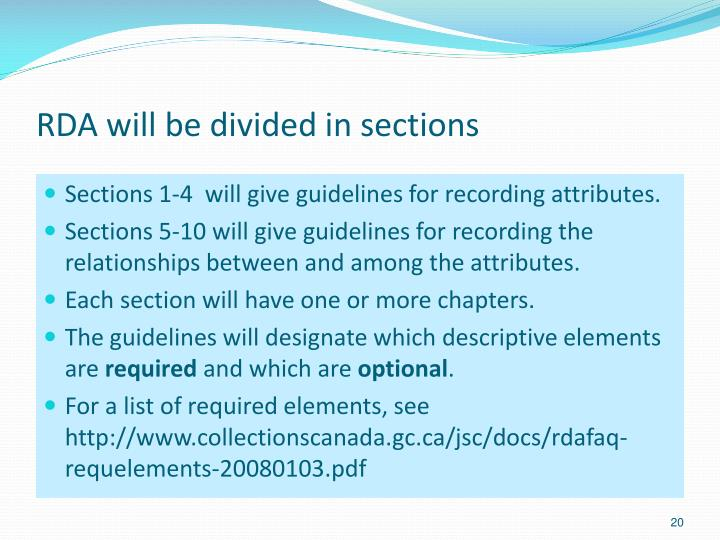 RDA will be divided in sections