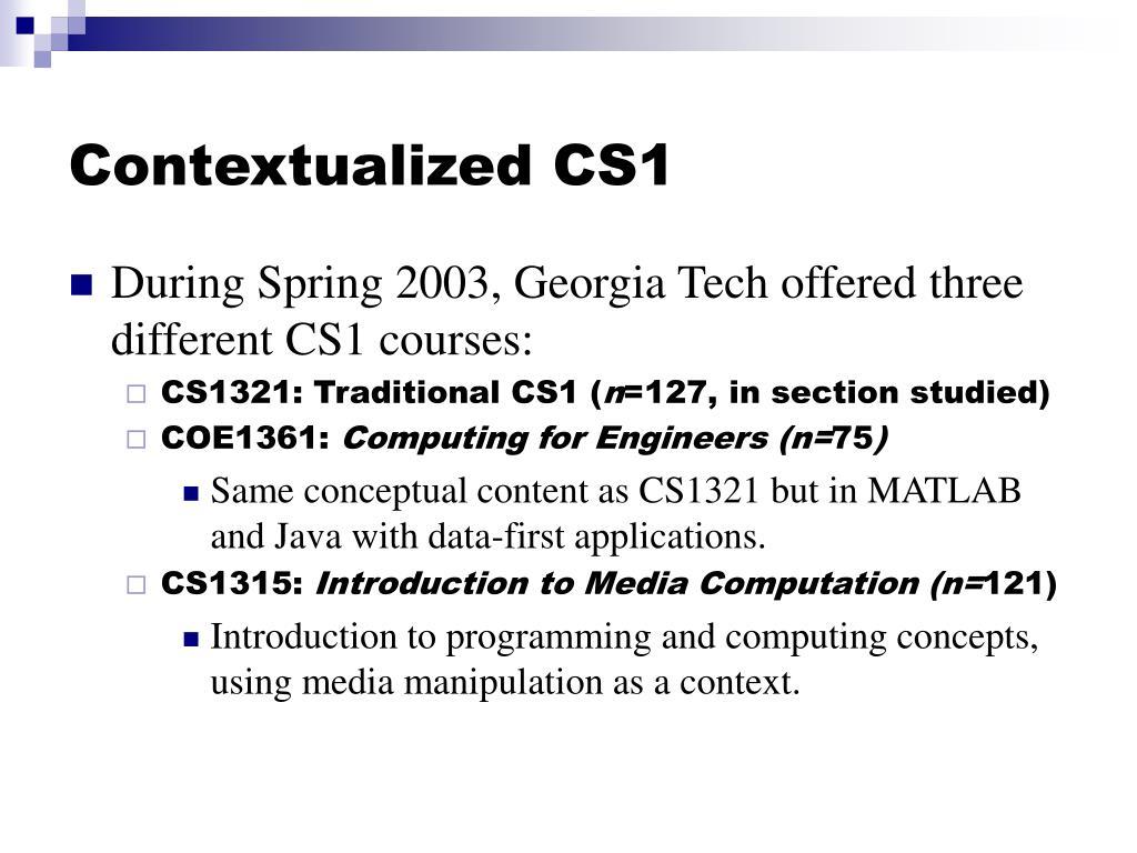 Contextualized CS1