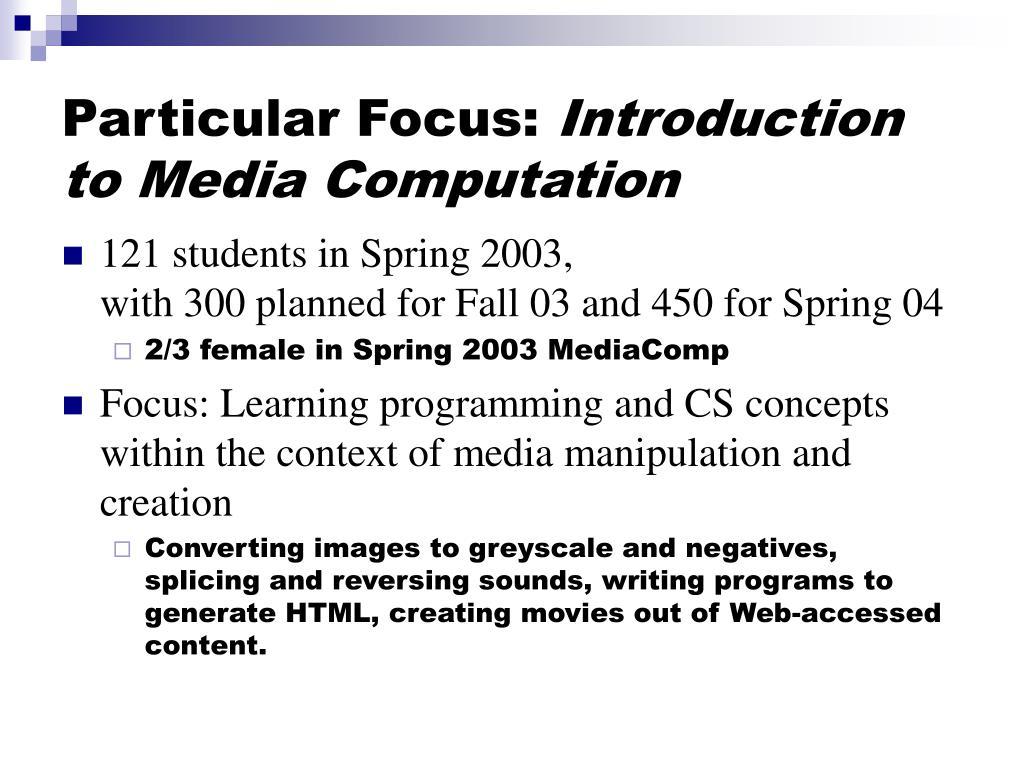 Particular Focus: