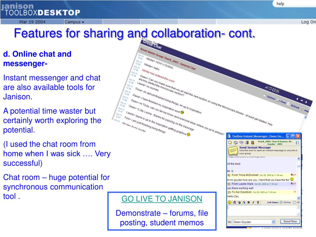 Features for sharing and collaboration- cont.