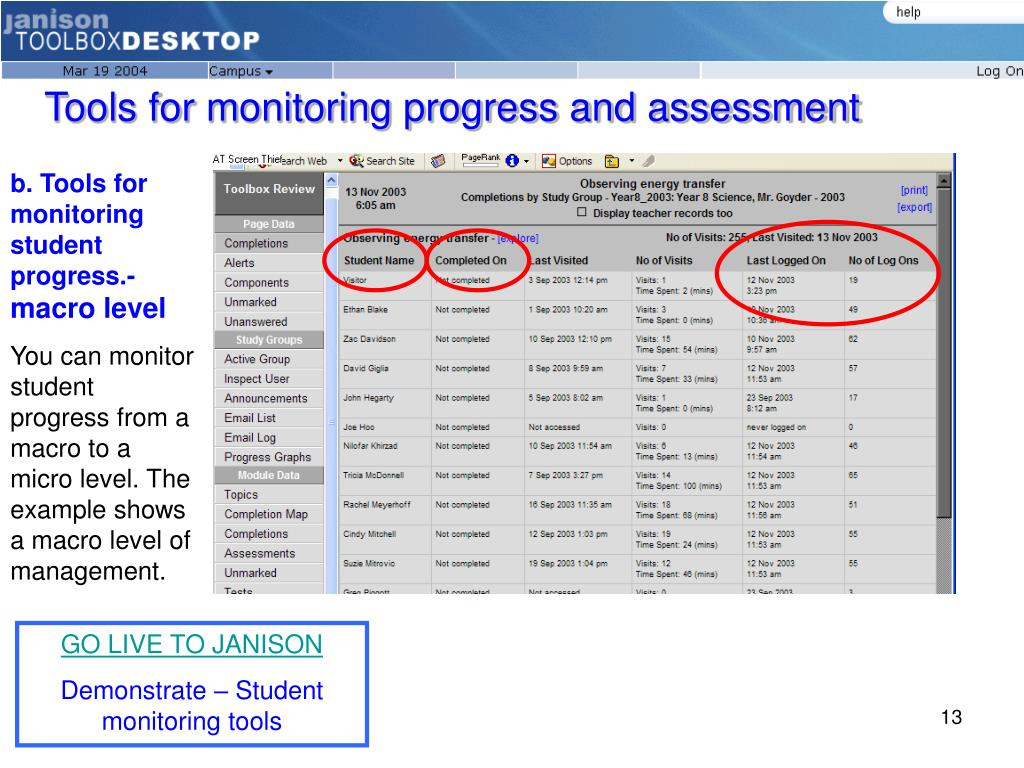 Tools for monitoring progress and assessment