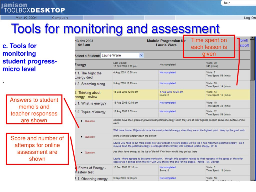 Tools for monitoring and assessment