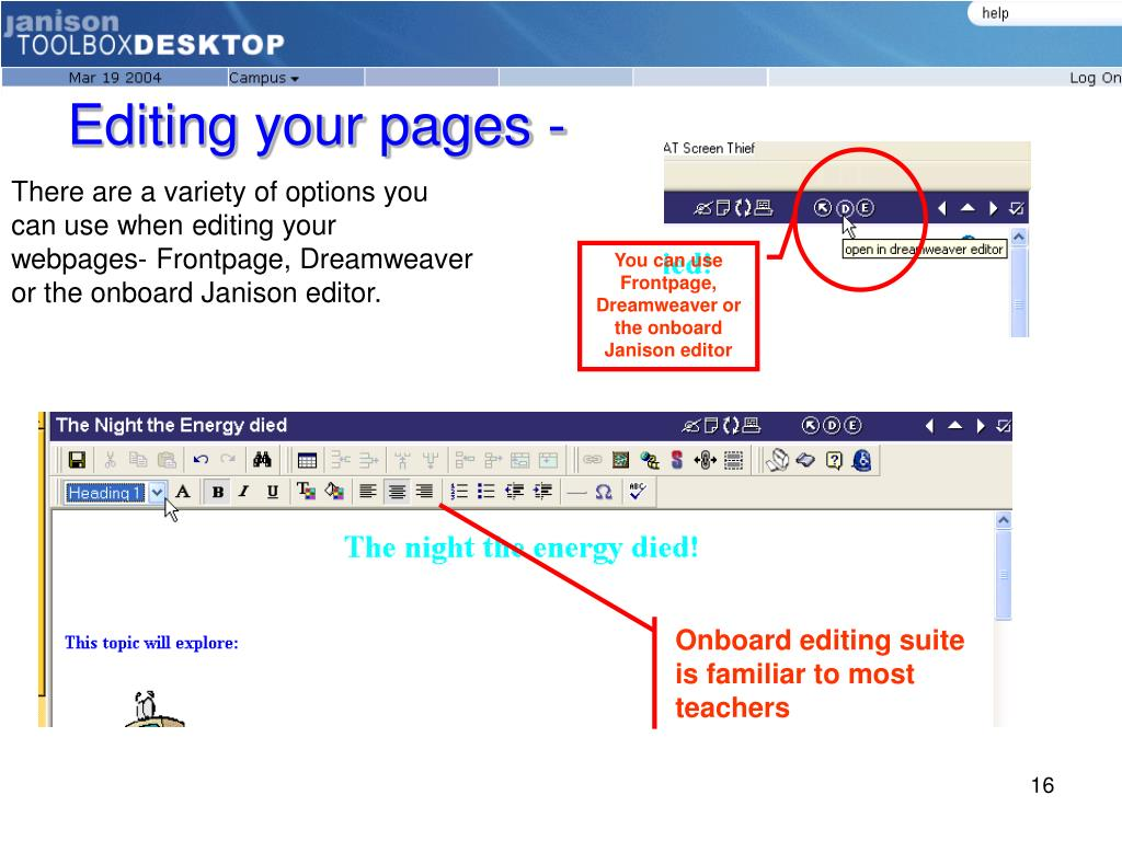 Editing your pages -