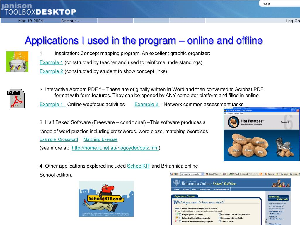 Applications I used in the program – online and offline