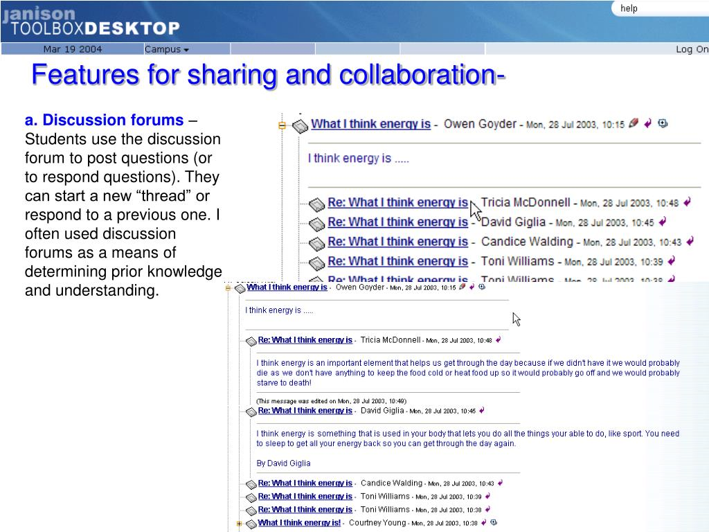 Features for sharing and collaboration-