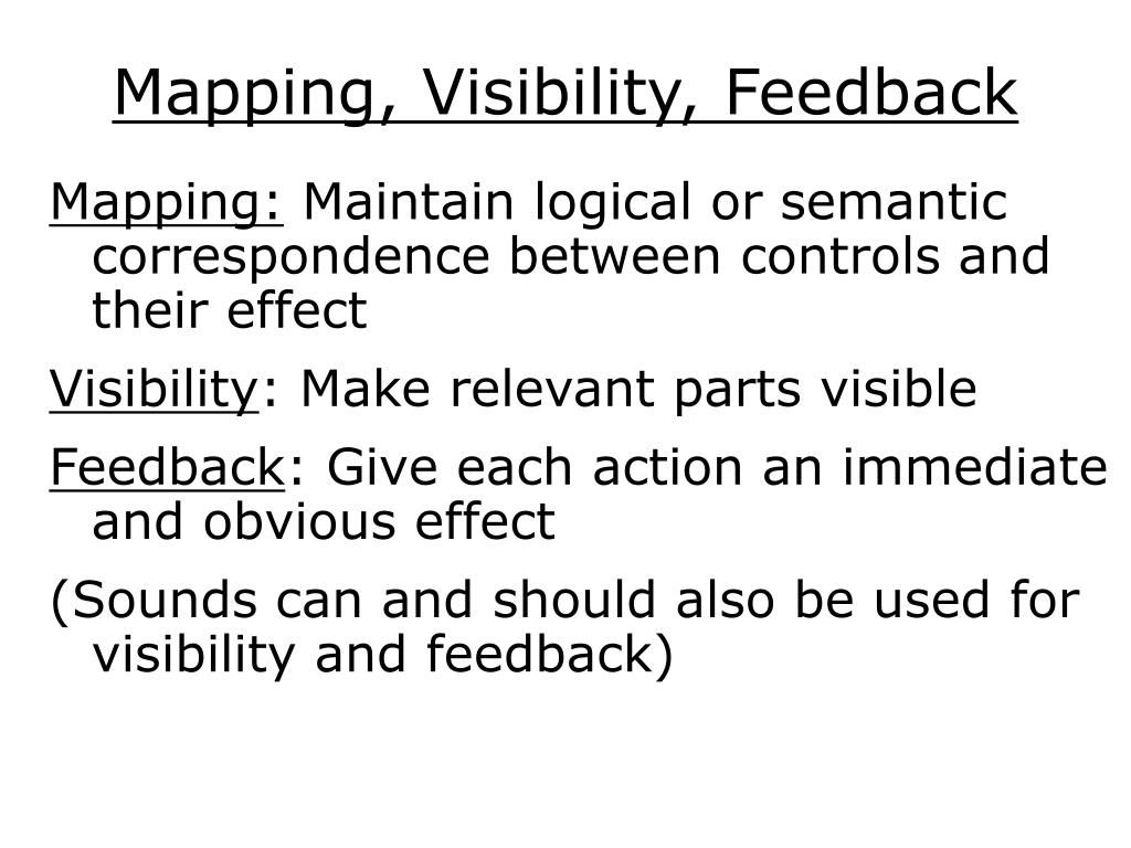 Mapping, Visibility, Feedback