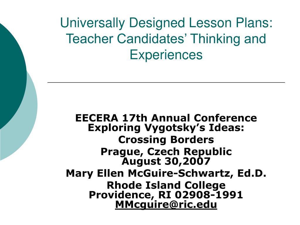 Universally Designed Lesson Plans: