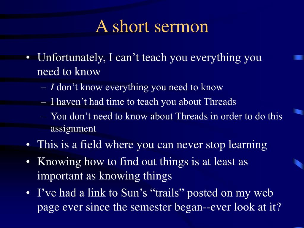 A short sermon