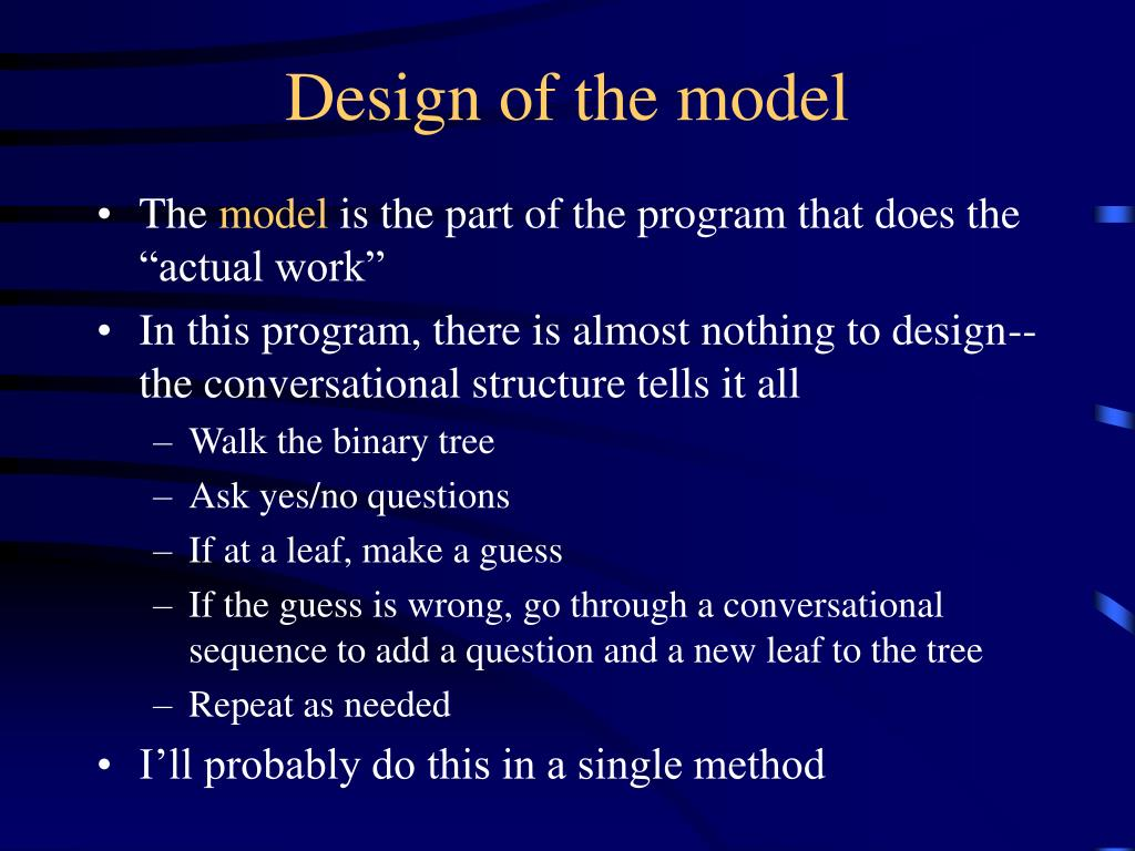 Design of the model