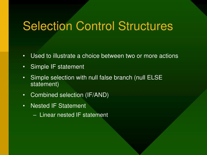 Selection Control Structures