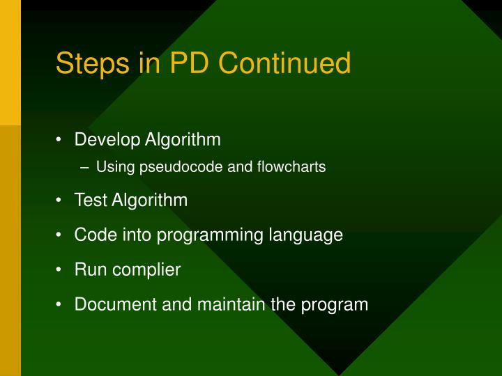 Steps in pd continued
