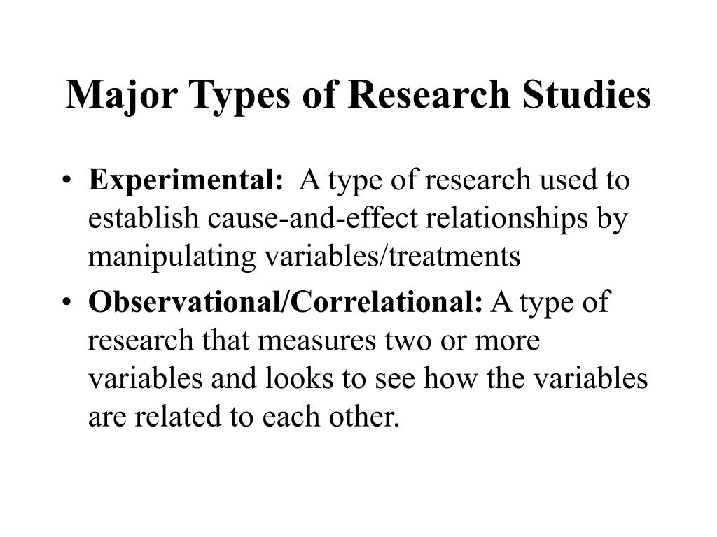 Major Types of Research Studies