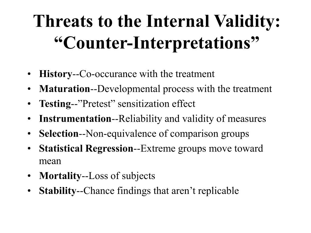 "Threats to the Internal Validity: ""Counter-Interpretations"""